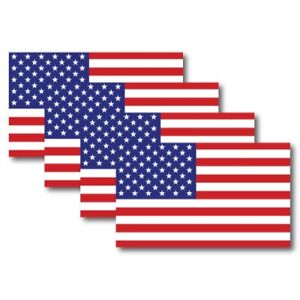 American Flag Magnet Decal 5 x 3 Inch 4 Pack - Heavy Duty for Car Truck SUV