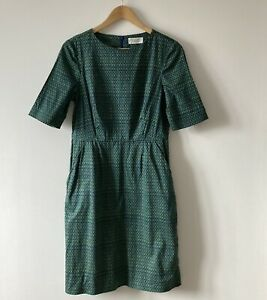 Toast dress size 10 green blue sheath short sleeves cotton fitted