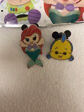 Disney Parks Wishables Pin Pack Little Mermaid  Ariel & Flounder Set - In Hand