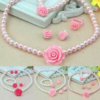 Pearl Flower Shape Necklace Bracelet Ring Ear Clips Set for Kids Girls Child IBC