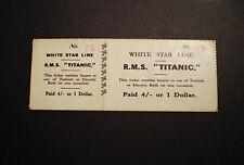 White Star Line, RMS Titanic, Turkish Bath Ticket & Stub Replica.