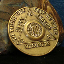 Alcoholics Anonymous 8 Year Aa Bronze Medallion Coin Token Chip Sober Sobriety