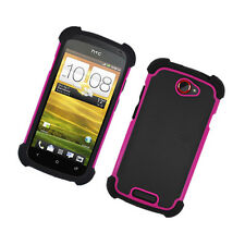 For T-Mobile HTC One S Rubber IMPACT TRI HYBRID Case Skin Phone Cover Black Pink