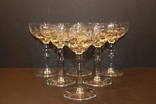 "Set of 6 Cut Star Flower Etched Foot Optic Glass 5-3/4"" Liquor Cocktails WESTON?"