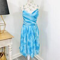 Y2K 2000s Womens Silk Dress Blue Cocktail Spaghetti Strap Size 8
