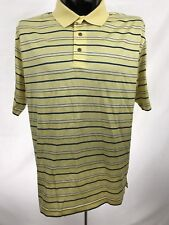 Jos. A. Bank Leadbetter Golf mens shirt casual polo cotton yellow striped s/s L