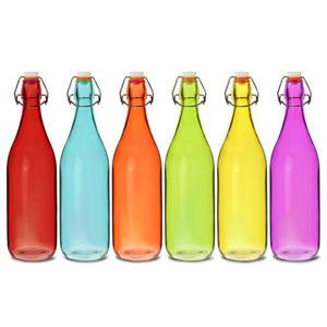 Coloured Glass Bottles Mixed 1ltr - Set of 6 - Multicoloured Clip Top Bottles
