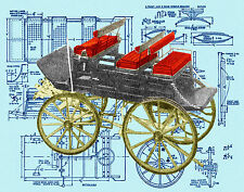 Build a scale 1850 Model, English American Wagon Full size Printed plans & Notes