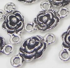25 Antique Silver Pewter Rose Link Connector