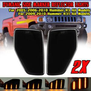 Dynamic LED Front Fender Side Marker Lights For Hummer H3 2005-2010 H3T 2009-10
