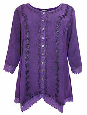 Womens plus size 16  18  top purple romantic embroidered  3/4 sleeve SALE !!
