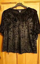 Women ladies girls lovely black velvet short sleeve top. Size 12