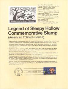 #7418 10c Sleepy Hollow Stamp #1548 Souvenir Page