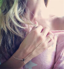 Chic Gold Finger Ring Love Heart Hand Slave Harness Link Chain Bracelet Jewelry