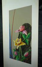 Mischtechnik Bild, Blumen, signiert, 17x 51cm,(f13j-66)