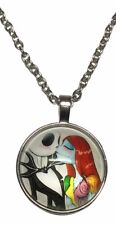Nightmare Before Christmas Jack and Sally Kissing Glass Domed Pendant NECKLACE