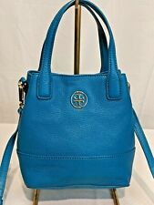 Tory Burch Blue Pebbled Leather Small Crossbody Top Handle EUC
