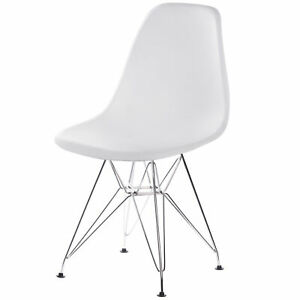 Mid-Century Modern Style Plastic DSW Shell Dining Chair with Metal Legs, White