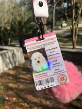 Pink Emotional Support/Service Dog Card ID Holographic Charity ADA ESA Barcode