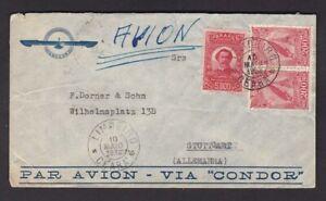 Brazil 1938 Condor envelope used LIMOEIRO to Germany