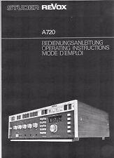 Studer Revox  Bedienungsanleitung user manual owners manual  für A 720