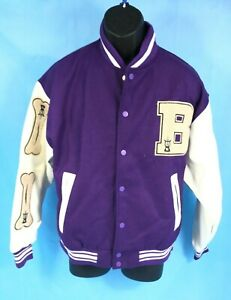 Purple Wool Varsity Letterman Bomber Jacket  Leather Sleeves Orchestra Patches