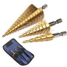 "3Pcs Set Steel Titanium Nitride Coated Step Drill Bit Quick Change 1/4"" Shank H"