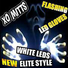 Halloween White Electro Skeleton Led Raver Dance Gloves With White Leds -Free Sh