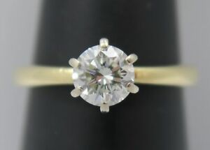 14K Gold ~ Pretty 1/2 Ct. Round Brilliant Cut DIAMOND Solitaire Engagement Ring