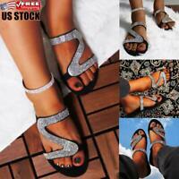 Womens Summer Sequins Flip Flops Flat Sandals Ladies Sliders Slippers Shoes Size