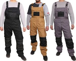 Mens Work Dungarees Working Trousers Bib and Brace Overall Multi Pockets Pants