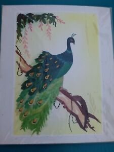 Peacock Bird Wheat Stalk on Silk Hand Cut and Painted Art Hand Made pre-owned.