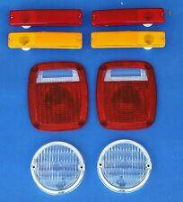 Jeep CJ7 1976-1980 8 PC Lens Kit  Front Parking, Side marker & Tail light lenses