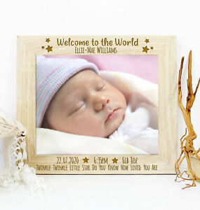 Personalised Welcome to the World Wooden Photo Picture Frame New Baby Gift