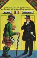 VINTAGE COMIC SCOTSMAN & FRENCHMAN CAN'T DECIDE WHICH is MEN'S TOILET POSTCARD
