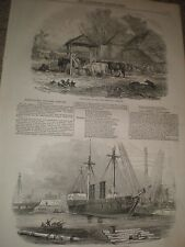 Wooden paddle wheel frigate HMS Terrible at Woolwich 1846 print