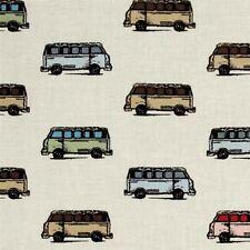 Vintage Scrapbook Mini Vans VW Bus Volkswagen Van Tan Cotton Fabric Fat Quarter