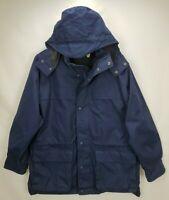 Eddie Bauer Mens Wool Lined Coat Jacket Size Medium M Navy Blue Hooded Full Zip