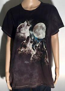Wolves Howling Moon The Mountain Antonia Neshev Womens XL Green Tie-Dye T-shirt