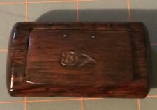 Antique Wood Snuff Box 19th century Hinged Hand Carved