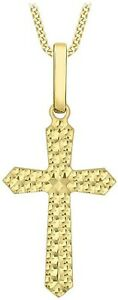 Solid 9ct Yellow Gold Embossed Cross Pendant Gift Box Chain Optional