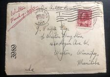 1917 Canadian Army PO On Active Service Censored Cover OAS To Winnipeg Canada