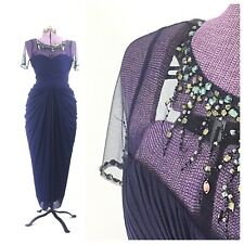 Adrianna papell blue dress 6 blue formal prom evening gown beaded sequined
