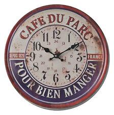 HORLOGE PENDULE MURALE DESIGN RONDE RETRO CAFE BAR PARC COULEUR 40cm A AIGUILLES