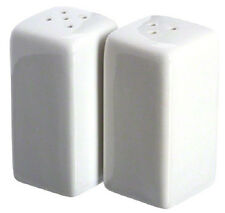 Ceramic Salt Pepper Shaker Set American Metalcraft Square Design White New