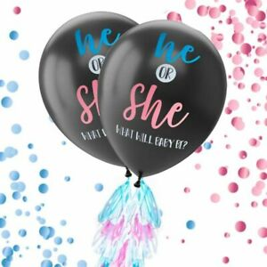 """2 Giant XL Confetti Balloons w/ 24 Tassels  String For Gender Reveal Party 36"""""""