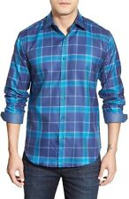 Bugatchi  Uomo Shaped Fit  Plaid Twill Sport Shirt Blue  NWT M