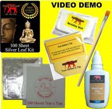 Silver Leaf Kit 100 LARGE Sheets Adhesive Gilder's Tip & Mop Arts Craft Gilding