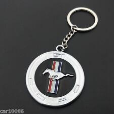Chrome Finish Ford² Horse Key Chain Fob Ring Mustang GT 500 Cobra Shelby KeyRing