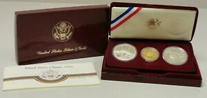 1983 1984 3 coin summer Olympic proof set 2 silver dollars $10 gold eagle #69056